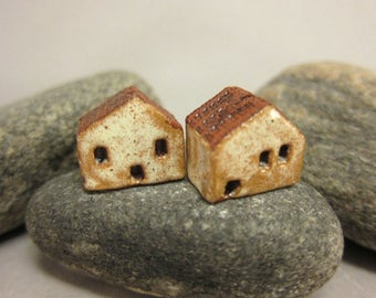 READY TO SHIP...Miniature Terracotta House Beads...Set of 2...Eggshell