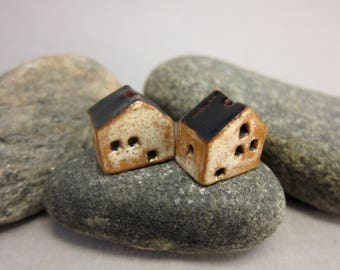 READY TO SHIP...Miniature Terracotta House Beads...Set of 2...Eggshell/Black Roof