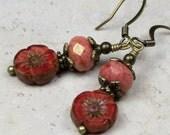Coral Orange Czech Glass Floral Beaded Dangle Earrings, Flower Earrings, Botanical Earrings, Earthy Earrings, Rustic Earrings, Bohemian