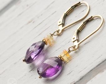 Amethyst Opal Earrings