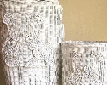 Adorable Vintage Nursery Child's Laundry Hamper Trash Basket Matching White Wicker Teddy Bear Set