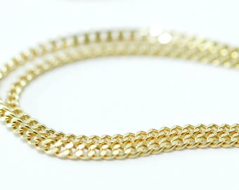 "Solid gold chain - 14k gold chain - 14k gold necklace chain - gold curb chain - 14k solid gold jewelry - 16 inch "" 14k gold curb chain"
