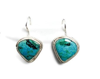 Turquoise Chrysocolla Teardrop earrings