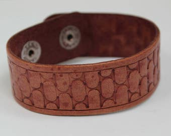 Cobblestone Leather Cuff Bracelet, Leather Tooled Bracelet