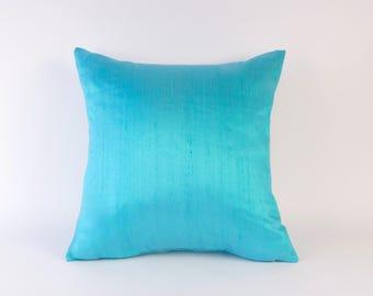CYAN Silk Pillow Cover - Aquamarine Pillow Cover - Turquoise Pillow Cover - Silk Toss Pillow Cover - Peacock Blue Silk Pillow Cover