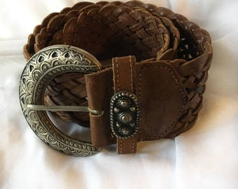 Vintage Genuine Leather Braided Belt with Large Buckle and Buttons