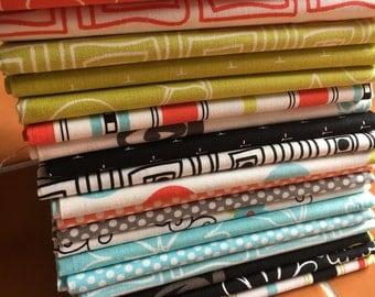 Summertime fabric fat quarter bundle - by Barbara Jones of Quiltsoup for Henry Glass - 20 FQ / Modern, Polka Dot, Floral, Geometric, yardage
