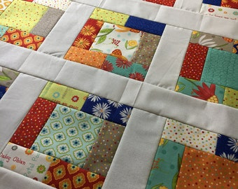 Unfinished baby sized quilt top - Moda - One For You, One For Me - Pat Sloan  Ready to Quilt / gift for her / homemade / floral / red, blue