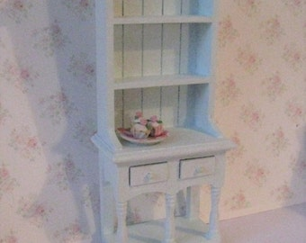 Dollhouse Kitchen Hutch, small hutch, Blue dresser, dollhouse dresser, pale blue  Dresser, twelfth scale, dollhouse miniature