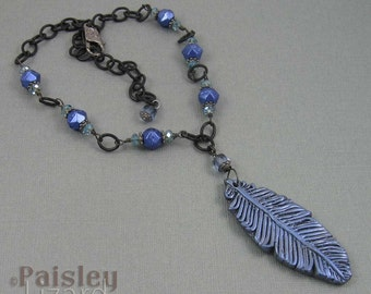 Raven feather necklace, iridescent blue black polymer clay pendant on matte black chain