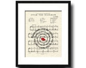 Over The Rainbow Ruby Slippers Spiral Song Lyric Sheet Music Art Print, Wizard Of OZ Movie Art, Art for Nursery, Childrens art