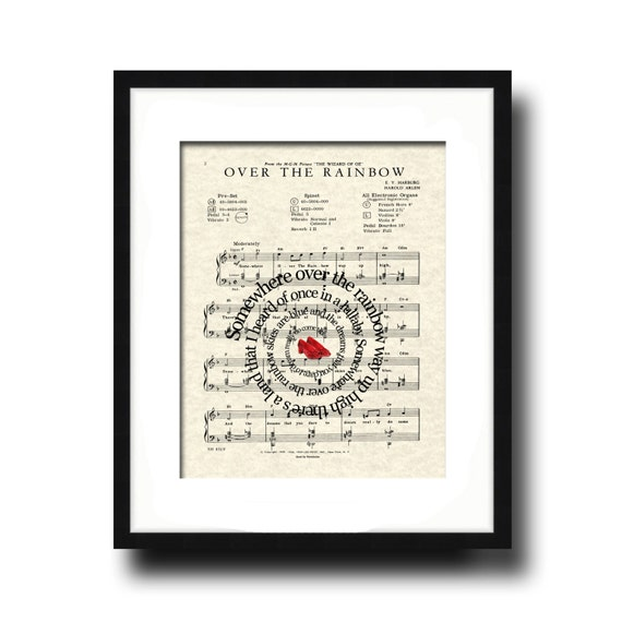 Over The Rainbow Ruby Slippers Spiral Song Lyric Sheet Music Art Print, Wizard Of OZ Movie Art, Art for Nursery, Childrens art