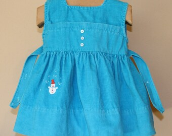 Vintage Blue Courduroy Jumper, Toddler Size 1, Nannette Originals