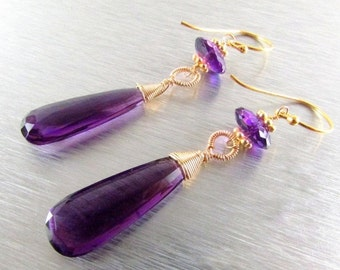 25OFF Long Amethyst With Gold Filled  Earrings