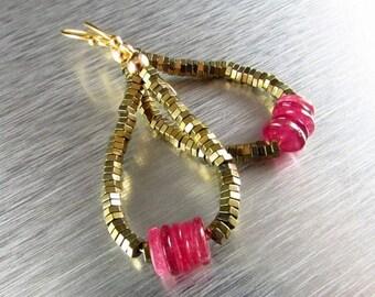 25OFF Pink Sapphire Hoop Earrings,Sapphire and Hematite Earrings Hematite