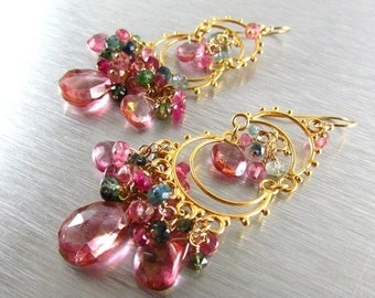 25OFF Pink Quartz and Watermelon Tourmaline Cluster Gold Filled Chandelier Earrings