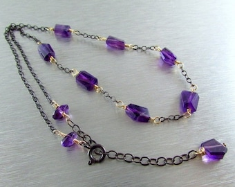 20 Off Amethyst and Oxidized Sterling Silver Necklace