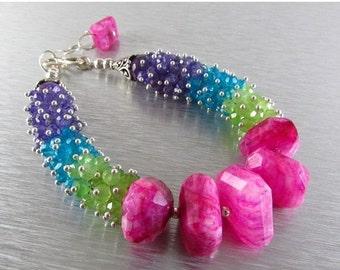 25% Off Pink Moonstone, Green Chalcedony, Amethyst, Blue Quartz Colorful Cluster Bracelet
