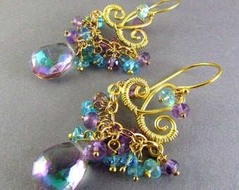 25 % OFF Mystic Quartz, Pink Amethyst and Apatite Chandelier Earrings, Exotic, Boho