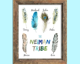 Custom Tribal Print Personalized Family Art Tribal Home Decor Feather Print Custom Family Name Print Tribal Art Family Room Art Boho Decor