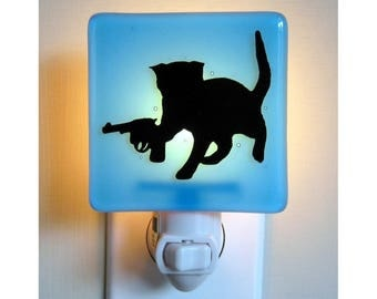 Funny Cat Night Light - Kitten with a Gun - Hand Painted Glass