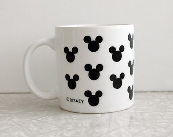 vintage disney mug, mickey mouse ears pattern, disney coffee mug, tea cocoa cup, black and white allover pattern, licensed collectible mug