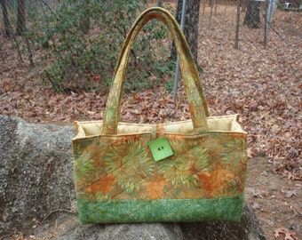 Gold and Green Sunflower Purse Tote Bag