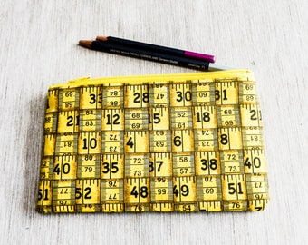 Ruler Pencil Case, Tape Measure Pencil Case, Pouch, Yellow Fabric Zipper Pouch, School Supply, Gift for Teacher, Teacher Gift, Cosmetic Case