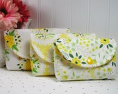 3 Piece Snap Pouch Set, Nesting Pouch Set (Large, Medium, Small) ..Bright Side in Yellow