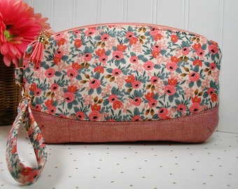Clematis Clutch, Zipper Wristlet, Zipper Clutch .. Les Fleurs Rosa in Peach, Rifle Paper Co