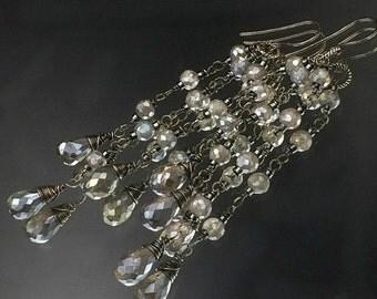 30% SALE Mystic Labradorite Tassel Earrings, Long Wire Wrap Tassel Earrings, Oxidized Sterling Silver Wire Hematite Grey Earrings