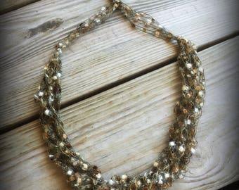 Sandstone Ladder Yarn Necklace/Jewelry/Crocheted Ribbon Necklace/Necklace/Fiber Jewelry/Jewelry/Ladder Necklace/Boho/Crochet/Crochet Jewelry