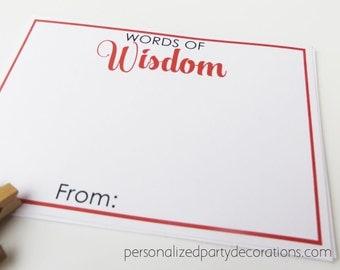 Words Of Wisdom Graduation Advice Cards, DIY PRINTABLE, Graduation Advice Card, Male Graduation Party Decorations, You Choose the Colors