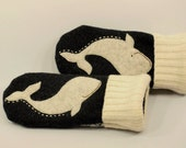 Mittens Wool Whale Recycled Mittens Fleece Lined Mittens  Darkand Light Grey White Whale Applique Leather Palm Eco Friendly Size M