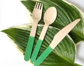 Green dipped handle disposable wooden forks spoons and knives - wooden party utensils