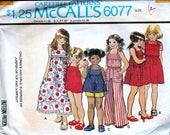 Vintage Sewing Patterns 1970s Childrens Girls Jumpsuit Sundress Jumper Top Pattern Kids 70s Hipster Kid Pattern Retro McCalls 6077 Size 7