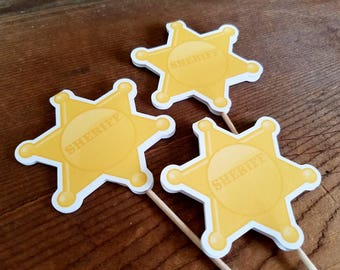 Cowboy Cupcake Toppers, Set of 12 Sheriff Badge Decorations by The Birthday House