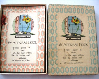 Vintage Art Deco Address Book In Original Box, Unused, Rust Craft, Very Nice Condition