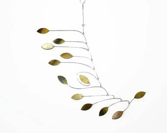 Calder Inspired Mobile with Organic Components Hand Painted in a Wash of Yellows and Greens- READY TO SHIP