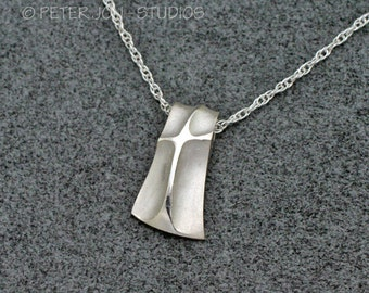 "Shield Cross Pendant, Large, Handmade Christian Necklace in Sterling Silver, includes 18"" chain"