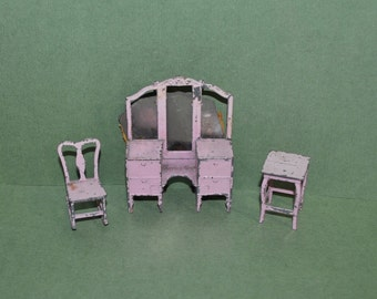 Vintage Tootsietoy Metal Dollhouse Vanity Table Rocking Chair Pink