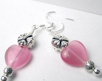 Pink Cats Eye heart with silver rounds dangle earrings, valentines day, heart earrings, breast cancer support, heart earrings, cats eye bead