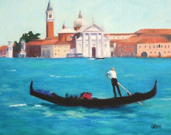 The Gondolier, 8x10 Oil on Canvas Panel, Venice Scene , FREE SHIPPING in US
