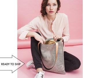 Metallic Gold Leather Tote Bag / Laptop Bag / Handbag / Shopper - Maps with Gold