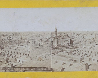 1900 Vintage Stereoview Card of Cairo - Mosque of  Uttan Hassan - Antique Photograph