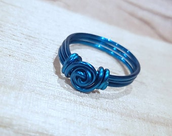 Wire Wrapped Ring - Peacock Blue Wire Wrapped Ring - Wire Jewelry - Blue Ring - Turquoise Ring- Wire Jewelry - Wire Jewellery -