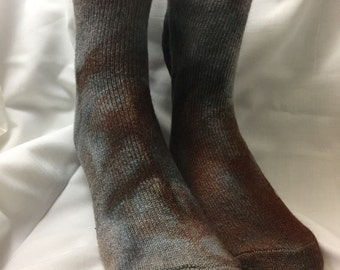 Tied dyed slate grey, brown , Angora  ankle Socks, 10-13 men women. Valentined Day's Gift