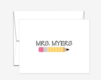 Personalized Stationery -  Pencil - Folded Note Cards