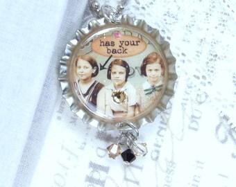 Friend Necklace Gift For Best Friend Friendship Necklace Has Your Back Bff Necklace Bottle Cap Necklace