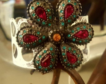 Red and blue rhinestone crown